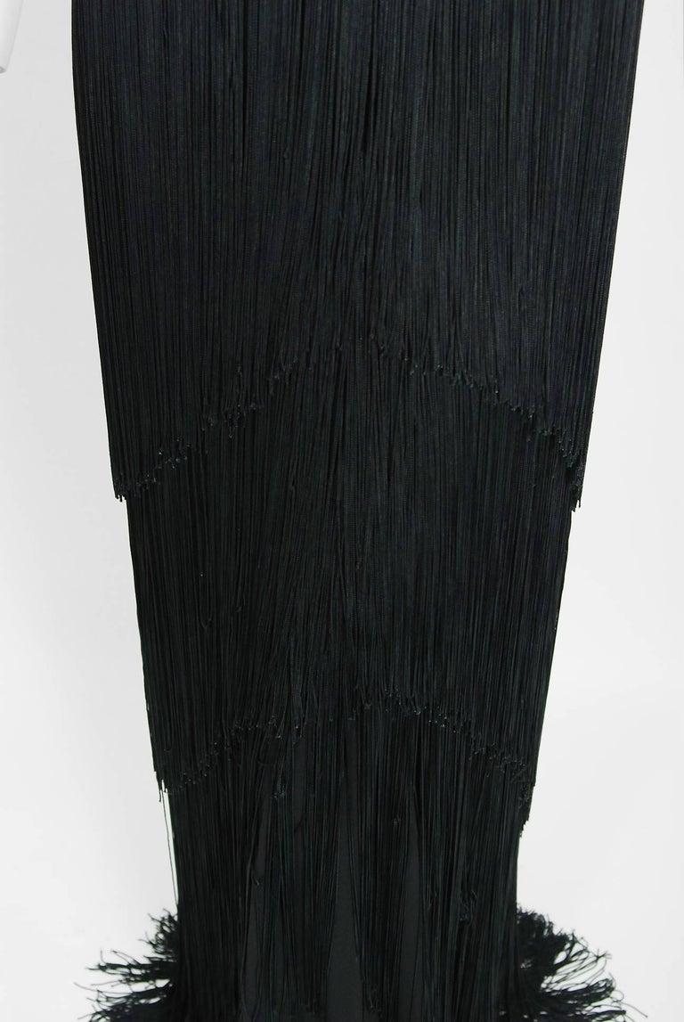 22e197defe3 1930 s House Of Tappé Couture Black Crepe Asymmetric Drape Fringe Evening  Gown For Sale 1