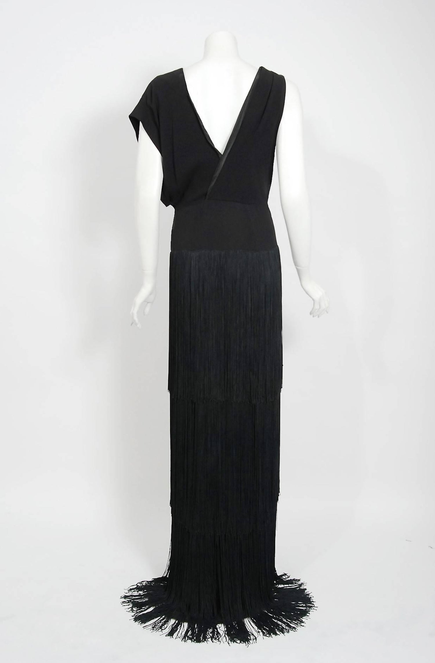 01c5f01067d 1930 s House Of Tappé Couture Black Crepe Asymmetric Drape Fringe Evening  Gown For Sale at 1stdibs