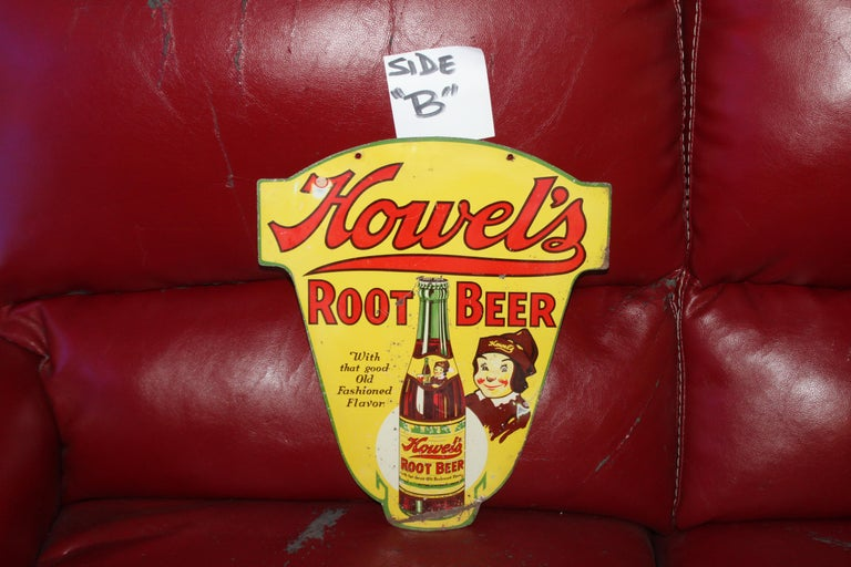 1930s Howell's Root Beer Soda Double Sided Tin Sign For Sale 5