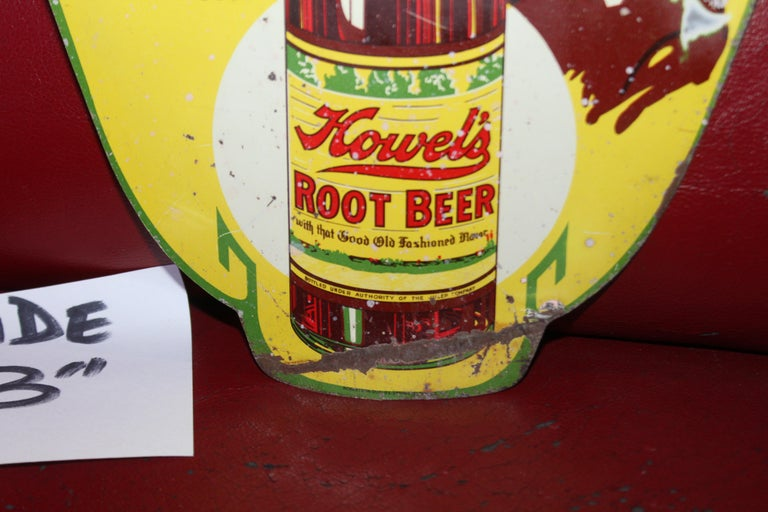 1930s Howell's Root Beer Soda Double Sided Tin Sign For Sale 6