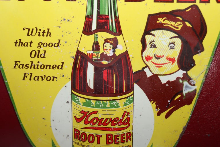 1930s Howell's Root Beer Soda Double Sided Tin Sign For Sale 7