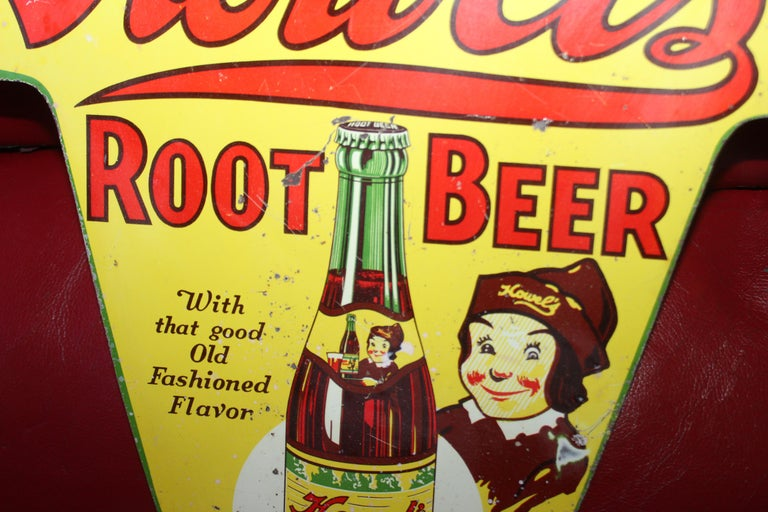 1930s Howell's Root Beer Soda Double Sided Tin Sign For Sale 8