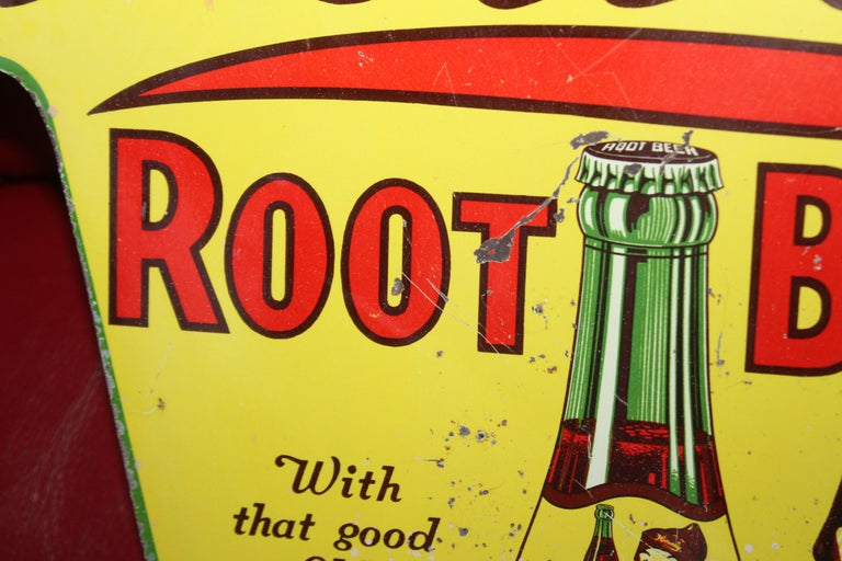 1930s Howell's Root Beer Soda Double Sided Tin Sign For Sale 9