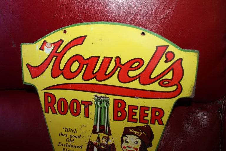 1930s Howell's Root Beer Soda Double Sided Tin Sign For Sale 10