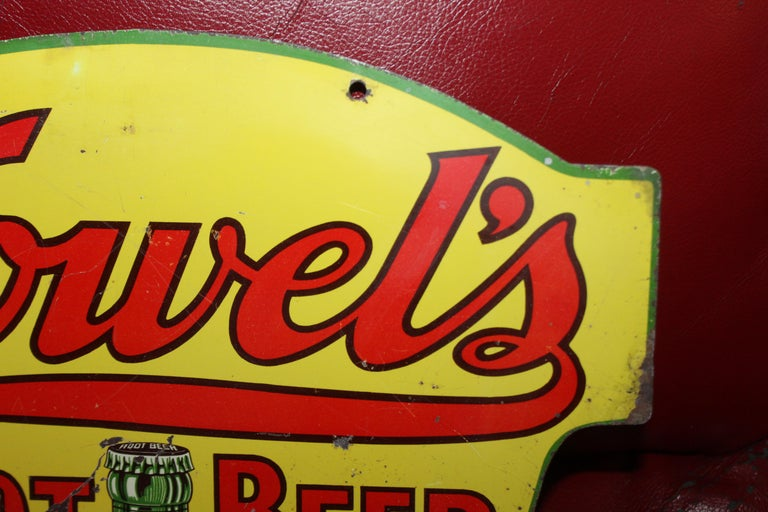 1930s Howell's Root Beer Soda Double Sided Tin Sign For Sale 12