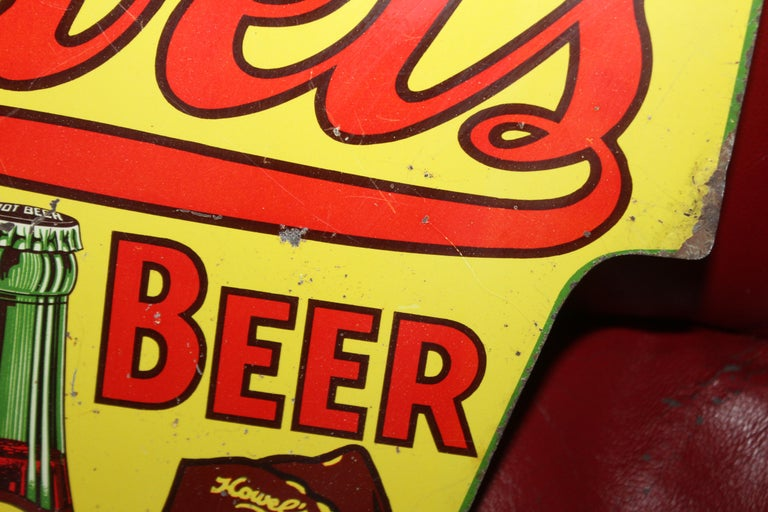 1930s Howell's Root Beer Soda Double Sided Tin Sign For Sale 13