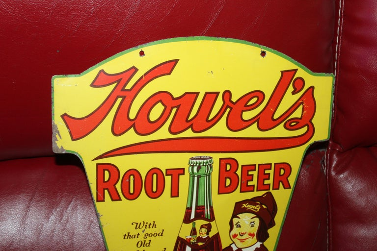 Double sided tin Root Beer sign, circa 1920s-1930s.