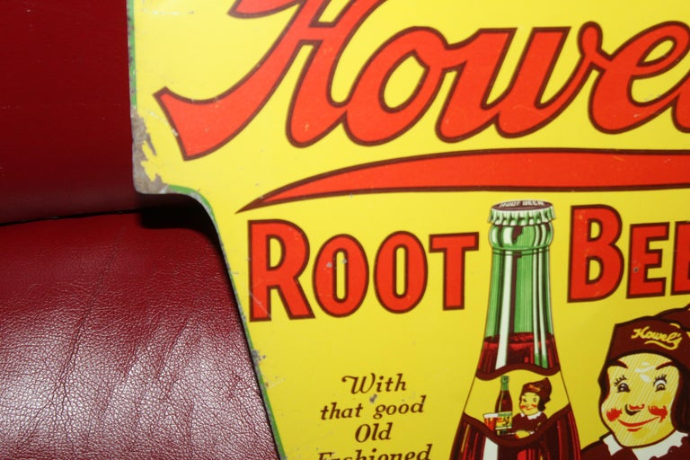 American 1930s Howell's Root Beer Soda Double Sided Tin Sign For Sale