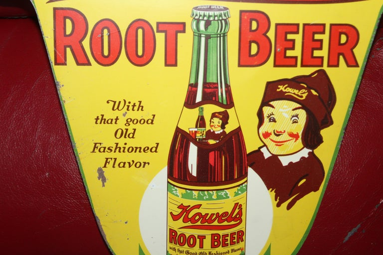 1930s Howell's Root Beer Soda Double Sided Tin Sign In Fair Condition For Sale In Orange, CA