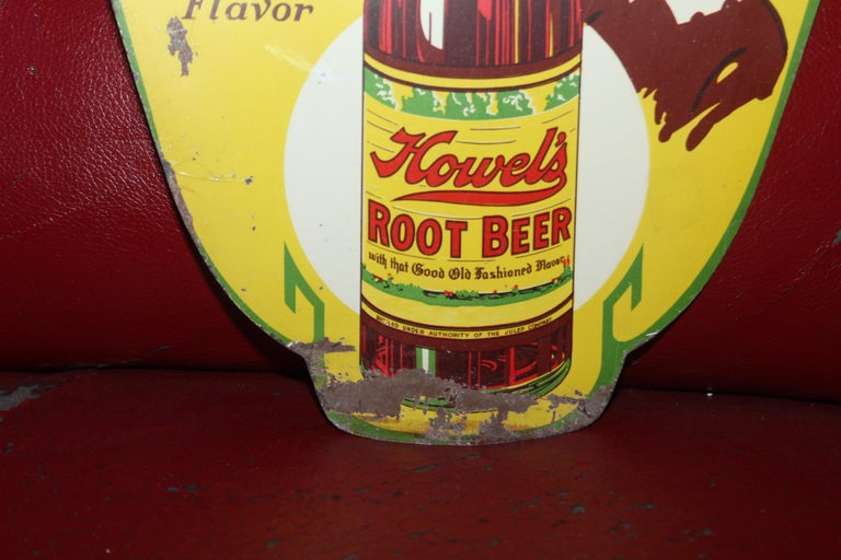 Mid-20th Century 1930s Howell's Root Beer Soda Double Sided Tin Sign For Sale
