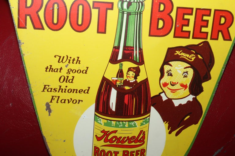 1930s Howell's Root Beer Soda Double Sided Tin Sign For Sale 1