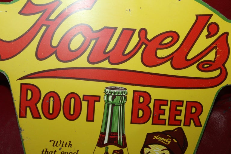 1930s Howell's Root Beer Soda Double Sided Tin Sign For Sale 2