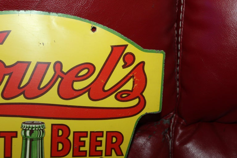 1930s Howell's Root Beer Soda Double Sided Tin Sign For Sale 3