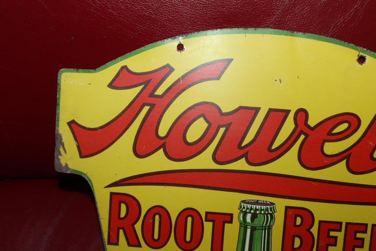 1930s Howell's Root Beer Soda Double Sided Tin Sign For Sale 4