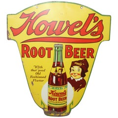 1930s Howell's Root Beer Soda Double Sided Tin Sign