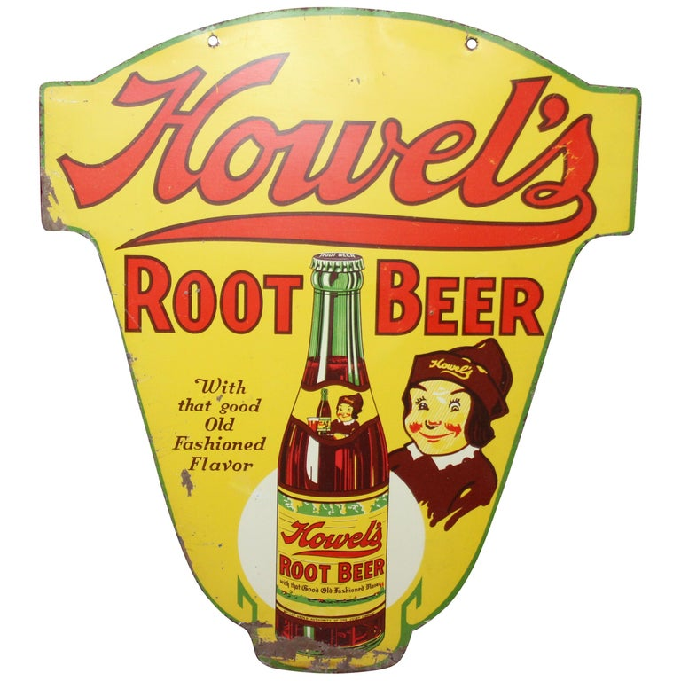 1930s Howell's Root Beer Soda Double Sided Tin Sign For Sale