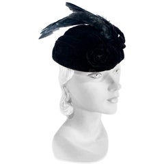 1930s I. Magnin Sculptured Black Velvet Perch Hat with Feathered Wings