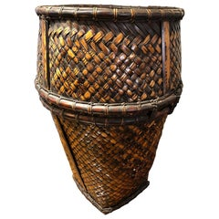 1930s Indonesian Handwoven Rattan and Bamboo Hauling Basket