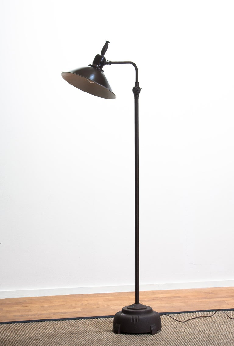 1930s Industrial Brass or Cast Iron Floor Lamp Made by Faries Mfg & Co, USA 3