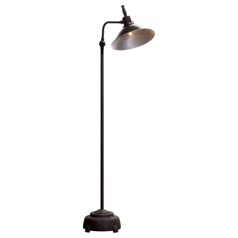 1930s Industrial Brass or Cast Iron Floor Lamp Made by Faries Mfg & Co, USA