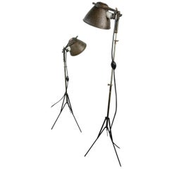 Pair of 1930s Industrial Machine Age Adjustable Tri-Pod Spot Floor Lamps