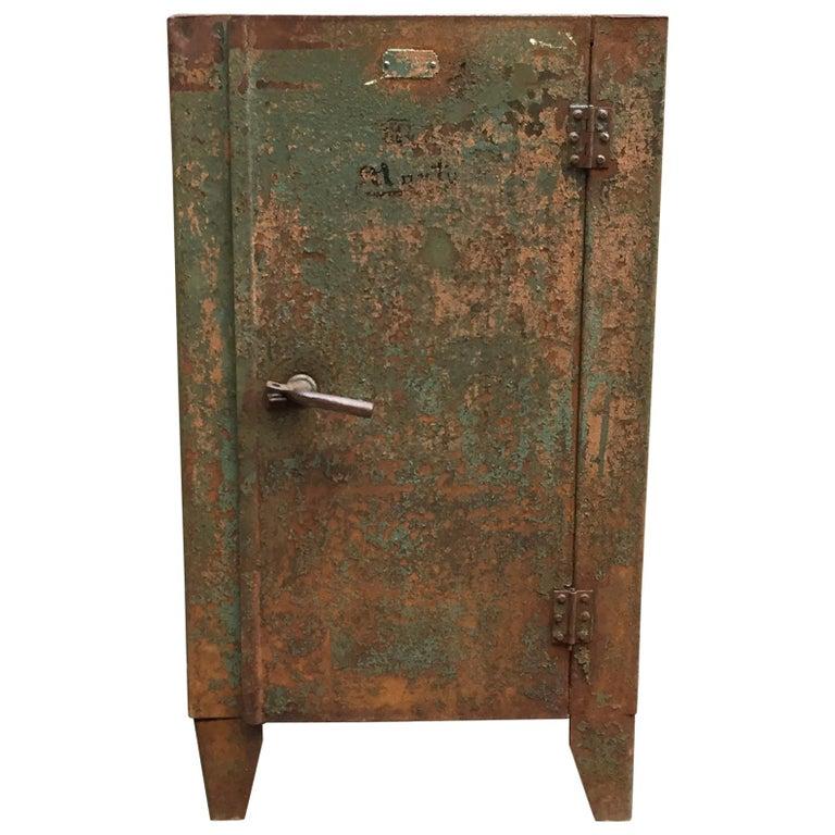 1930s Industrial Metal Locker Cabinet For Sale