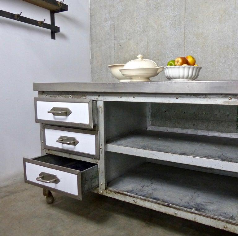 excellent 1930s kitchen | 1930s Industrial Metal Nickel-Plated Kitchen Island Work ...