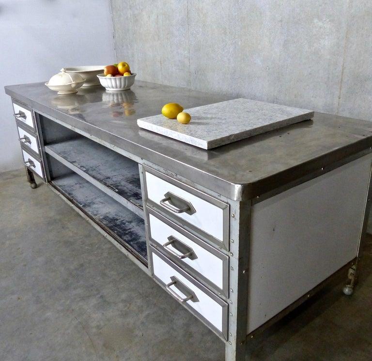 Kitchen Island Metal | 1930s Industrial Metal Nickel Plated Kitchen Island Work Station Bei
