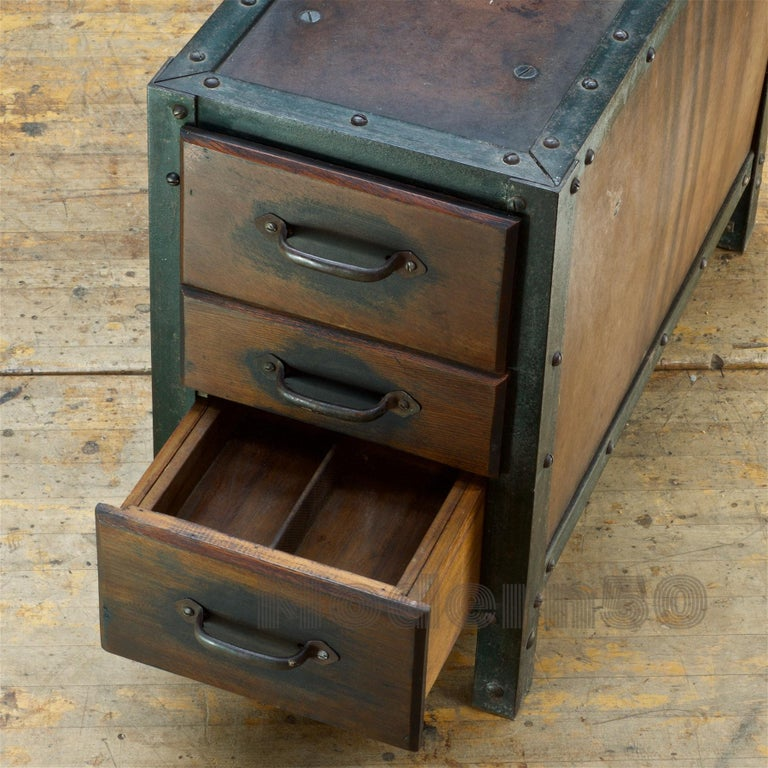 1930s Industrial Workshop Chest Cabinet Factory Vintage Nightstand Drawers Steel For Sale 3