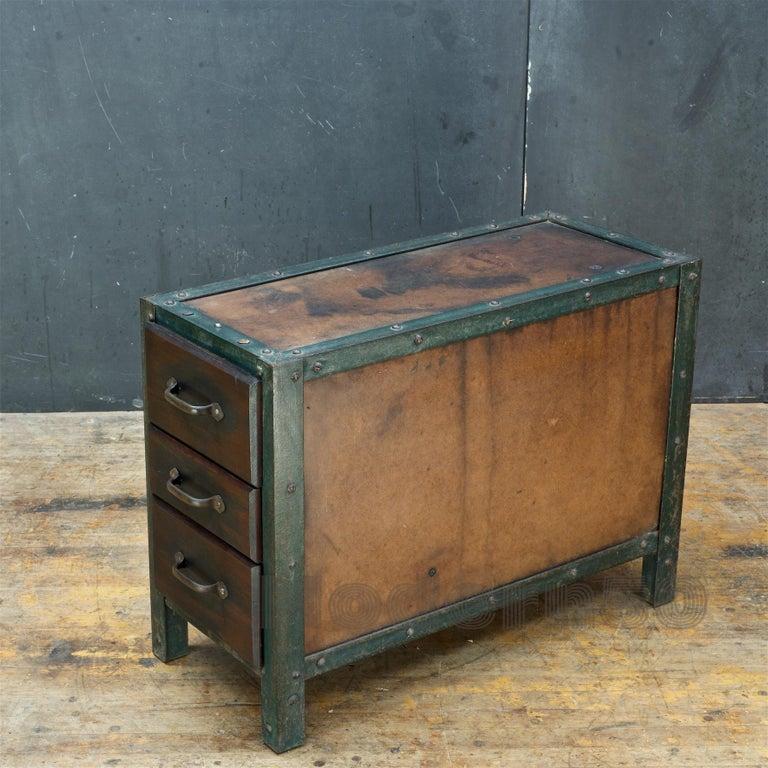 American 1930s Industrial Workshop Chest Cabinet Factory Vintage Nightstand Drawers Steel For Sale