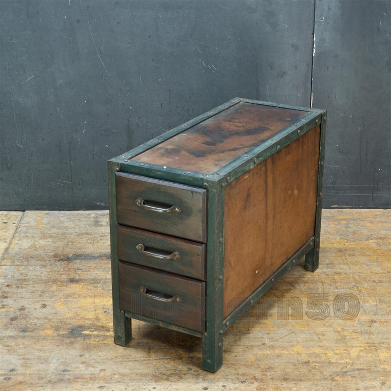 Forged 1930s Industrial Workshop Chest Cabinet Factory Vintage Nightstand Drawers Steel For Sale