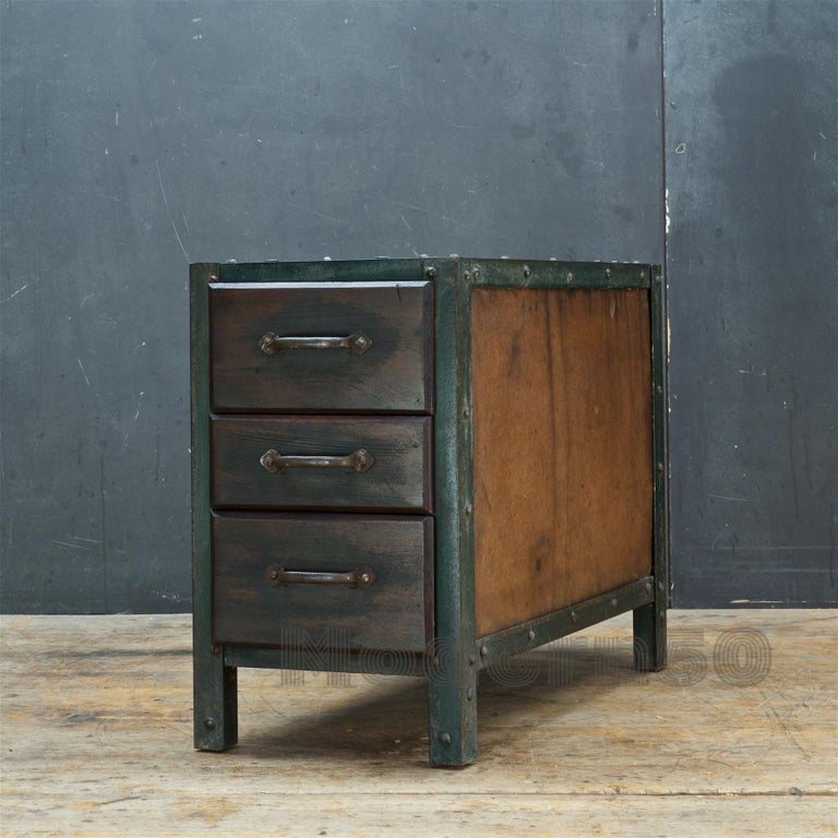 Mid-20th Century 1930s Industrial Workshop Chest Cabinet Factory Vintage Nightstand Drawers Steel For Sale