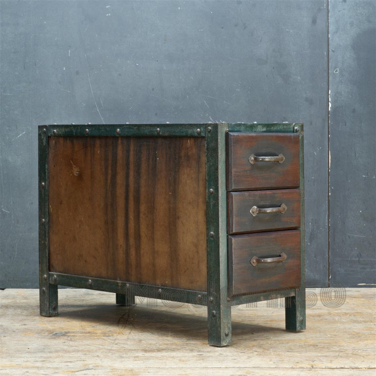 Iron 1930s Industrial Workshop Chest Cabinet Factory Vintage Nightstand Drawers Steel For Sale