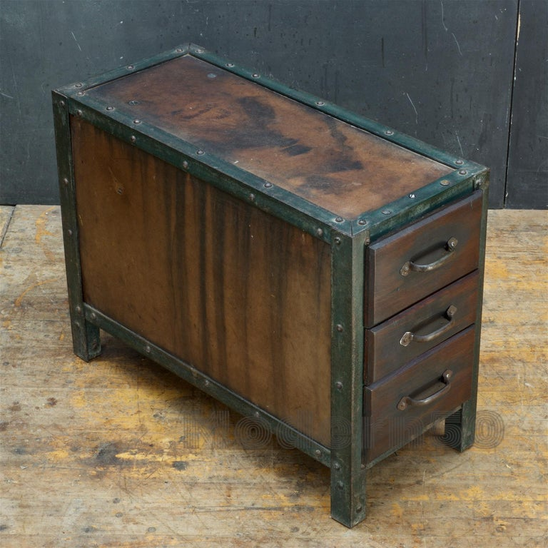1930s Industrial Workshop Chest Cabinet Factory Vintage Nightstand Drawers Steel For Sale 1