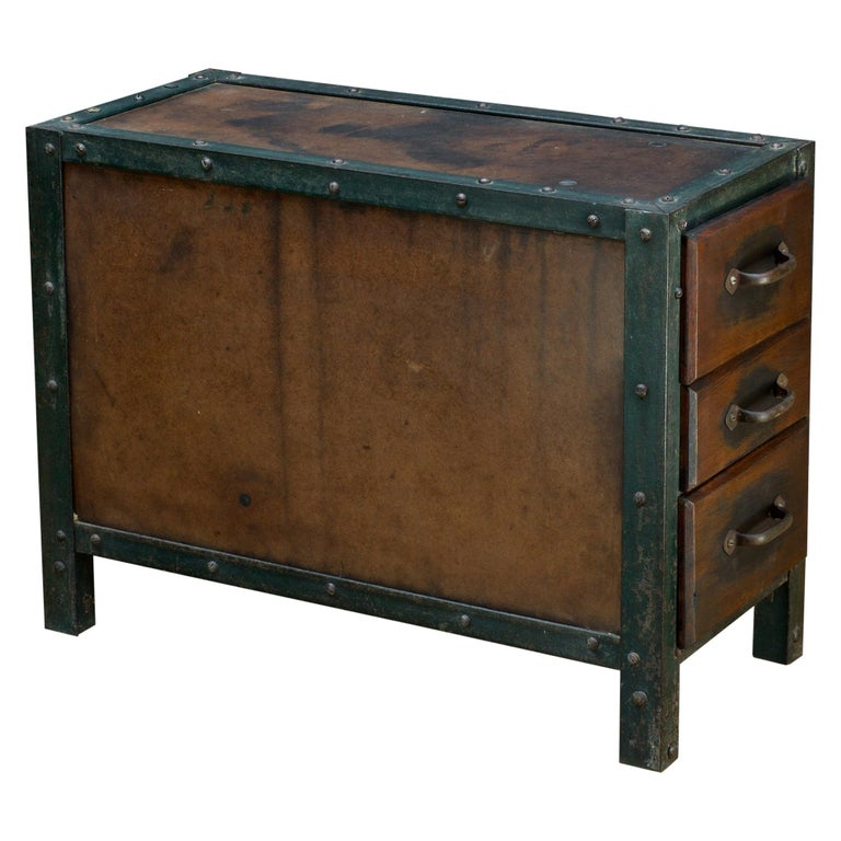 1930s Industrial Workshop Chest Cabinet Factory Vintage Nightstand Drawers Steel For Sale