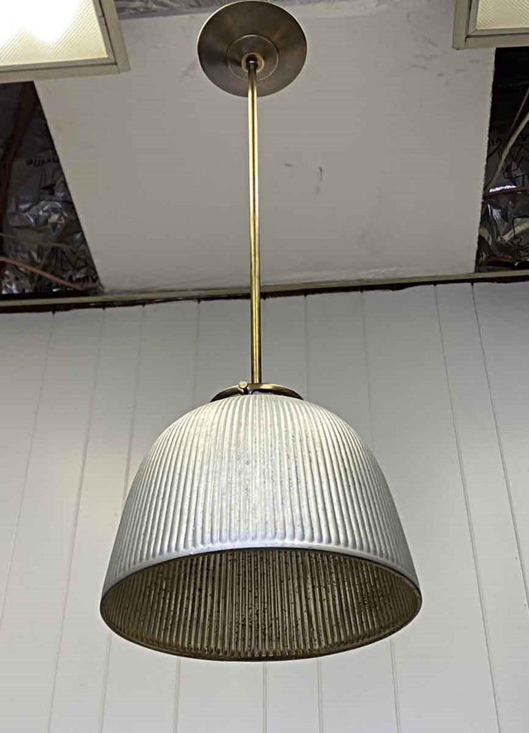 American 1930s Industrial X-Ray Mercury Glass Pendant Light with New Brass Hardware For Sale