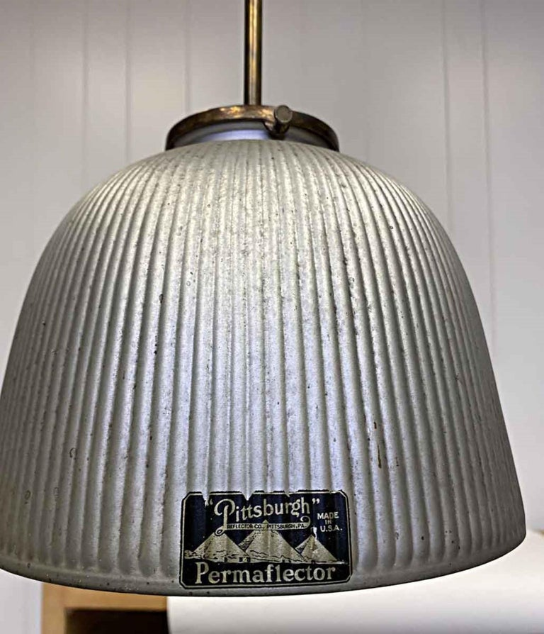 1930s Industrial X-Ray Mercury Glass Pendant Light with New Brass Hardware In Good Condition For Sale In New York, NY