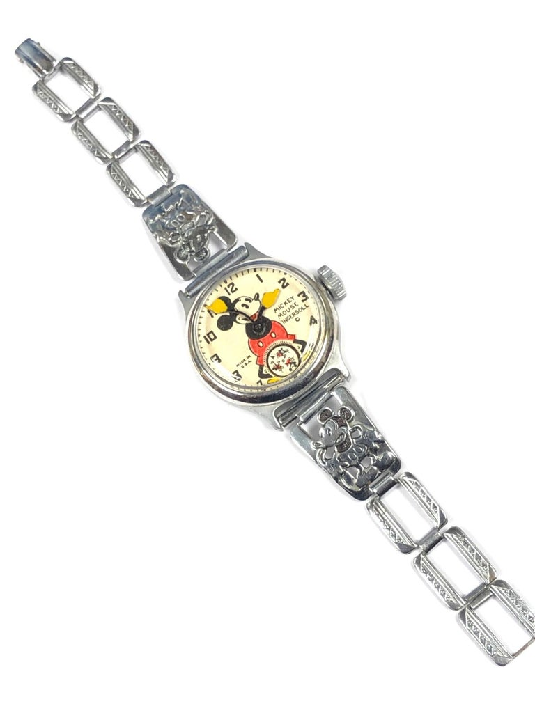 1930s Ingersoll Mickey Mouse Mechanical Wind Wristwatch at