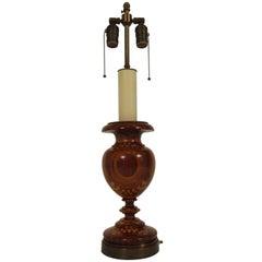 1930s Inlaid Mixed Wood Lamp