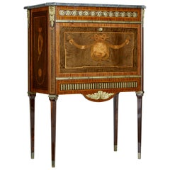 1930s Inlaid Swedish Marble Top Secretaire