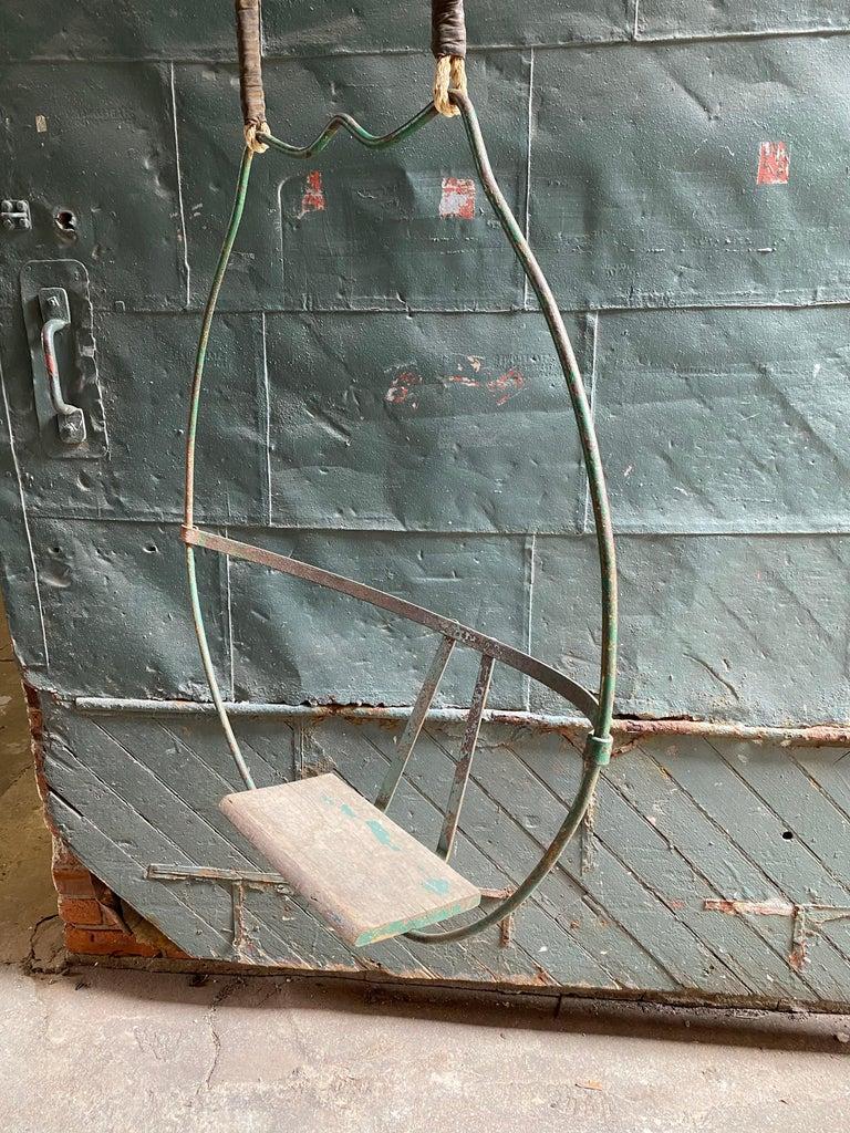 Industrial 1930s Iron Hoop Tree Swing For Sale