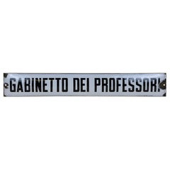 "1930s Italian Enamel Metal Sign ""Gabinetto Dei Professori"", Teachers's Restroom"