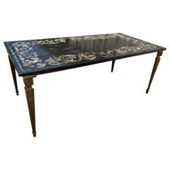1930s Italian Nero Marble Coffee Table Framed w/ Ornamental Stucco Inlay