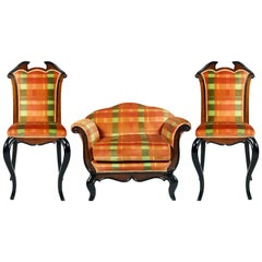 1930s Italian Pair of Chairs and Armchair, Paolo Buffa Attributed, from Cantù