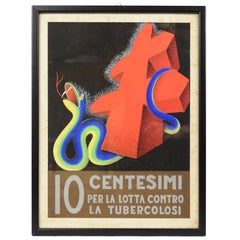 1930s Italian Medical Sketch of a Campaing to Fight Tuberculosis