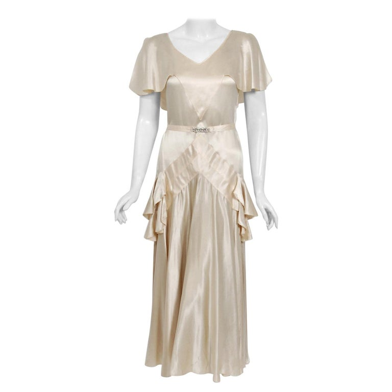 1930's Ivory Creme Satin Flutter Sleeve Plunge Belted Bias-Cut Tiered Deco Gown