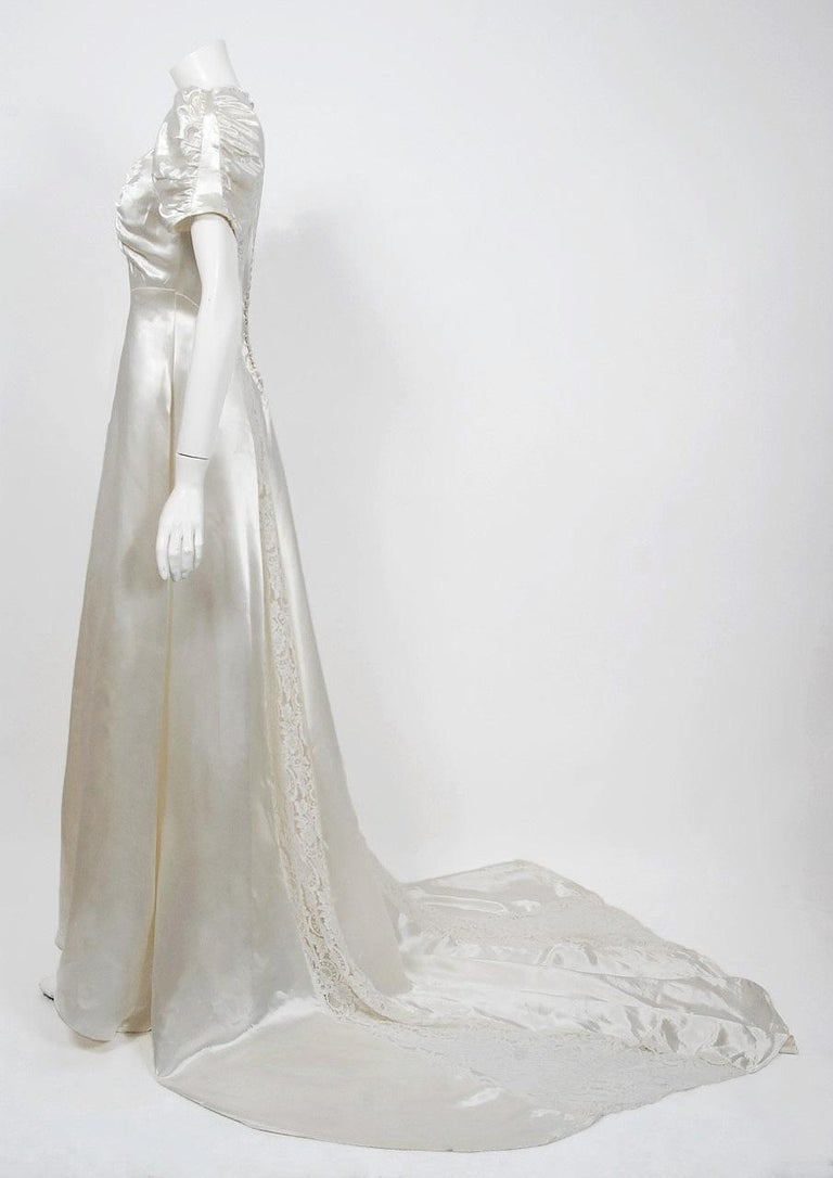 1930's Ivory Satin & Lace Ruched Puff-Sleeve Full Length Trained Bridal Gown In Good Condition For Sale In Beverly Hills, CA