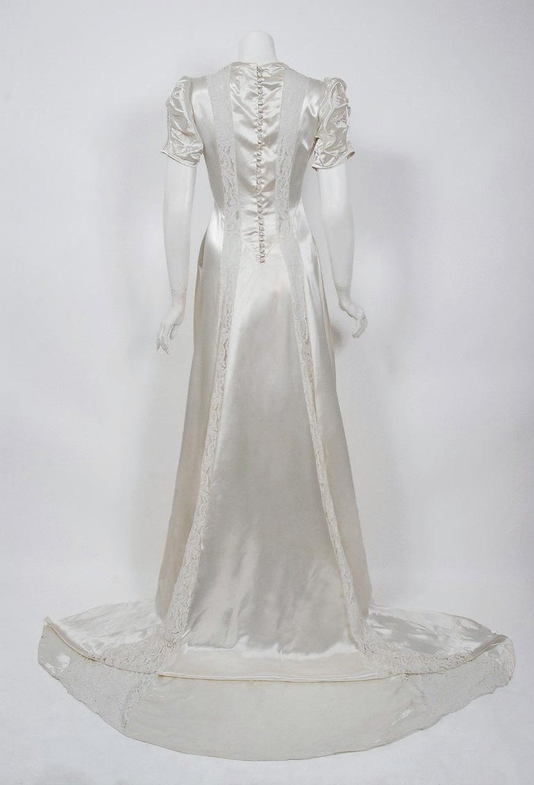 1930's Ivory Satin & Lace Ruched Puff-Sleeve Full Length Trained Bridal Gown For Sale 1