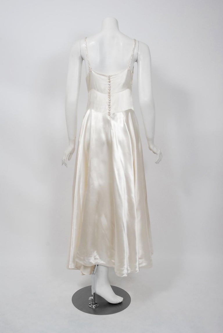 Vintage 1930's Ivory Satin Sculpted Plunge Rosette Appliques Bridal Slip Dress For Sale 1