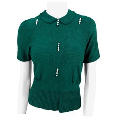 1930s Jack Frost Forest Green Knit Blouse